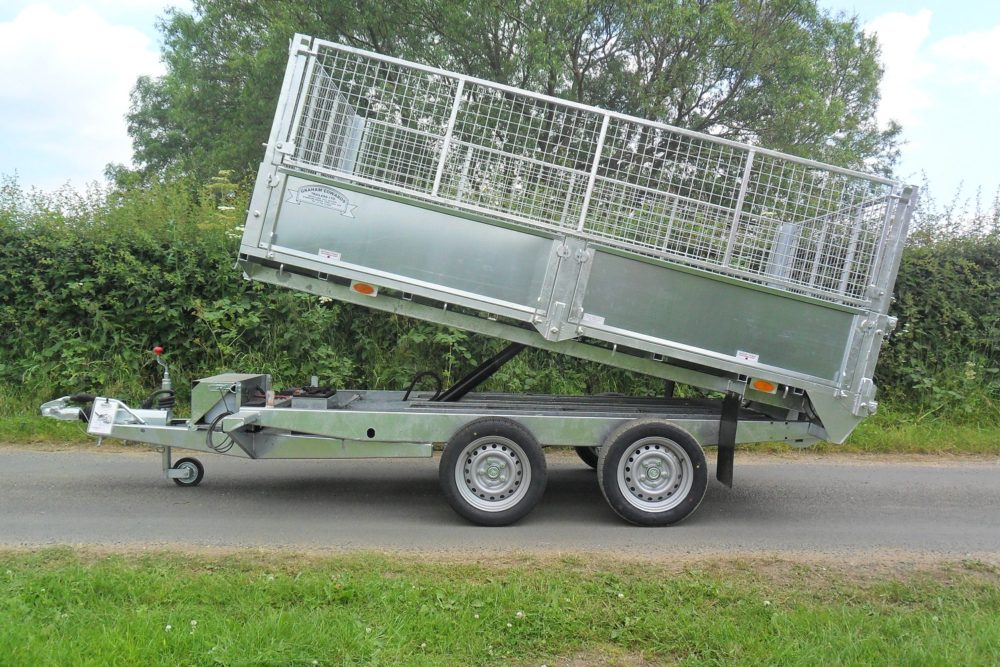 Tipping Trailer - TP105 Tipper with Cage Extensions Tipped Up