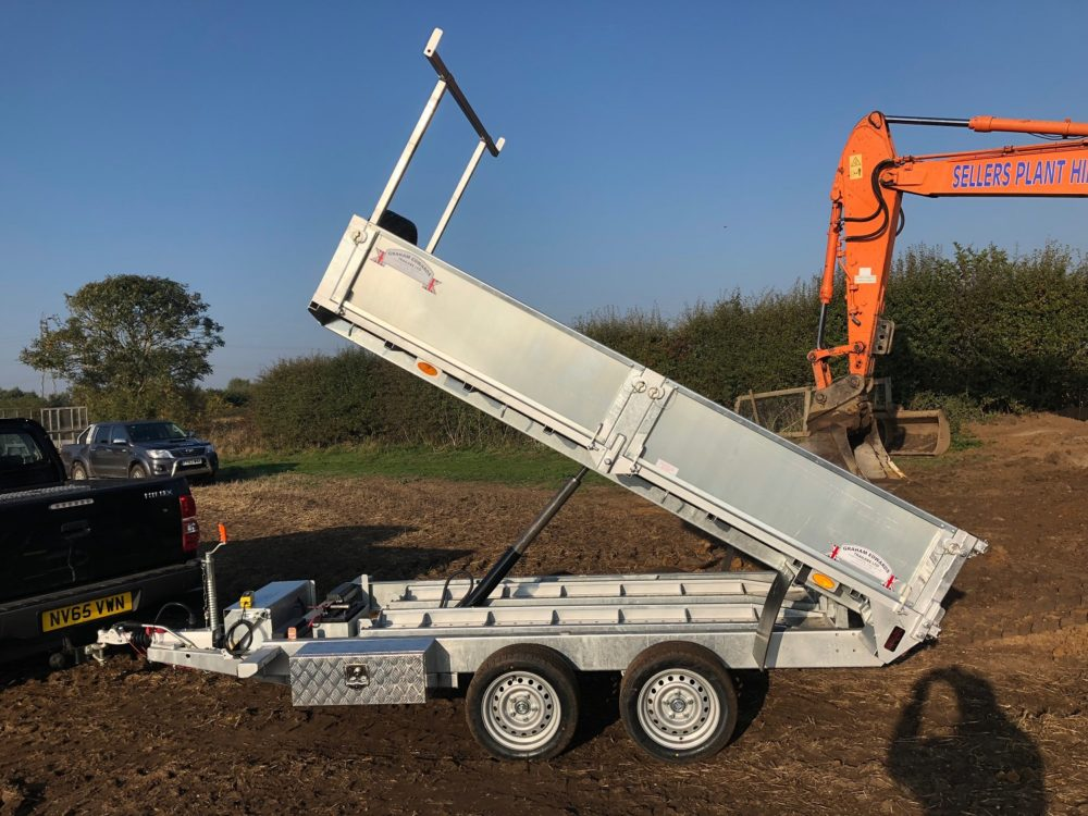 Tipping Trailer on site tipped up