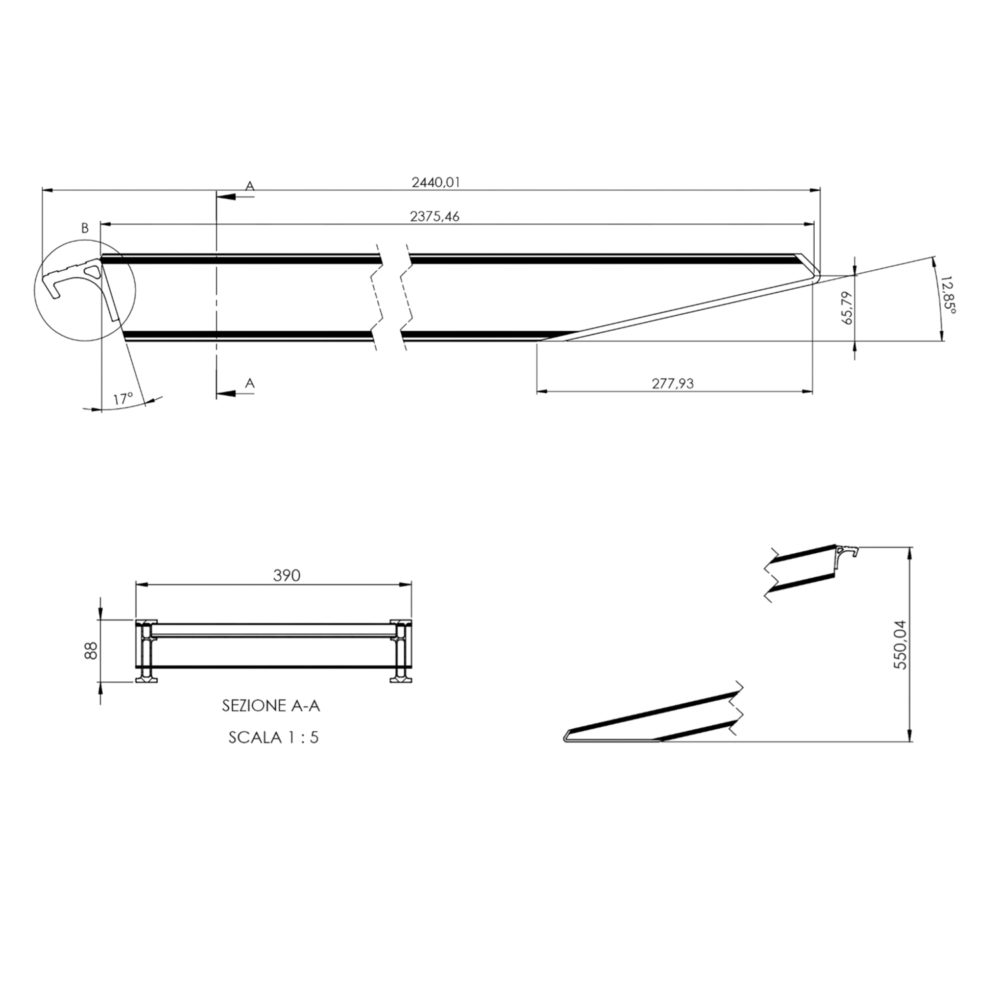 8ft Alloy Ramp Drawing