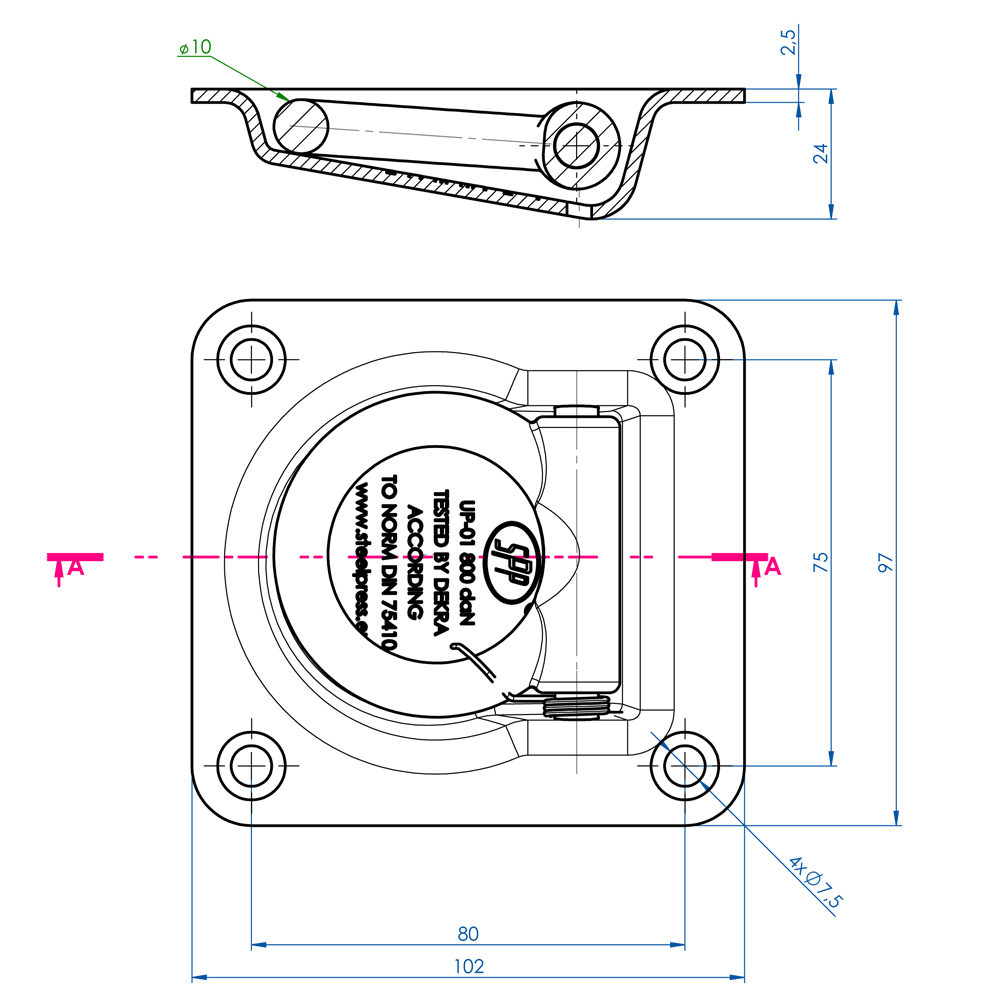 Recessed Fit Lashing Ring Trailer Tie Down Drawing