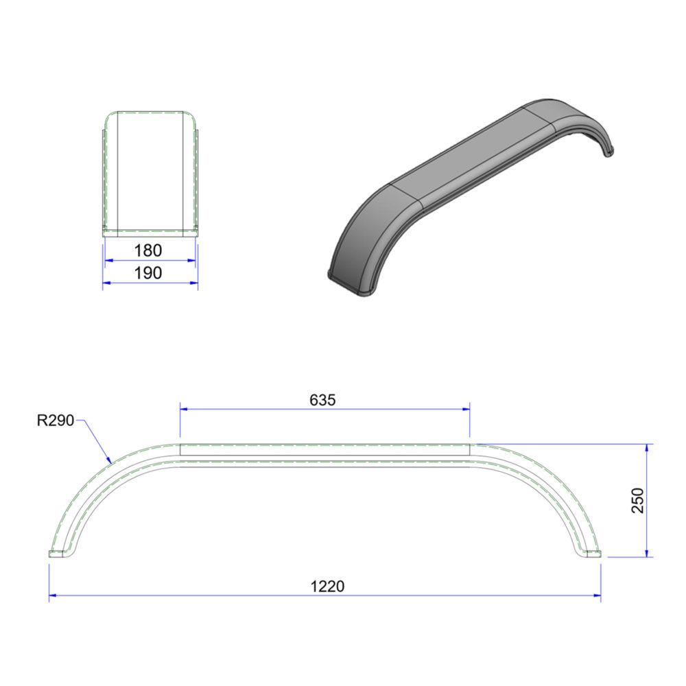 JT1864 10 inch tandem mudguard drawing