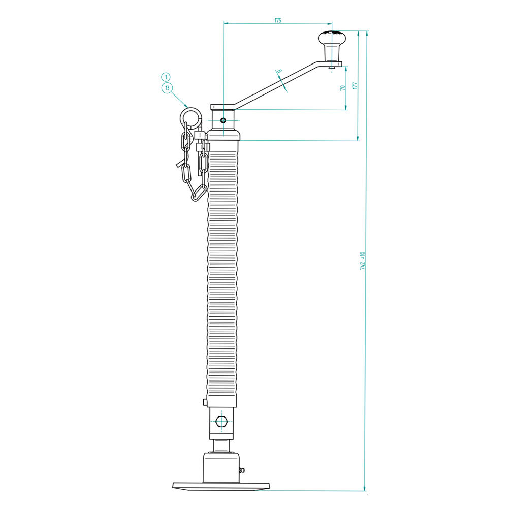 Knott 48mm Prop Stand drawing telescopic