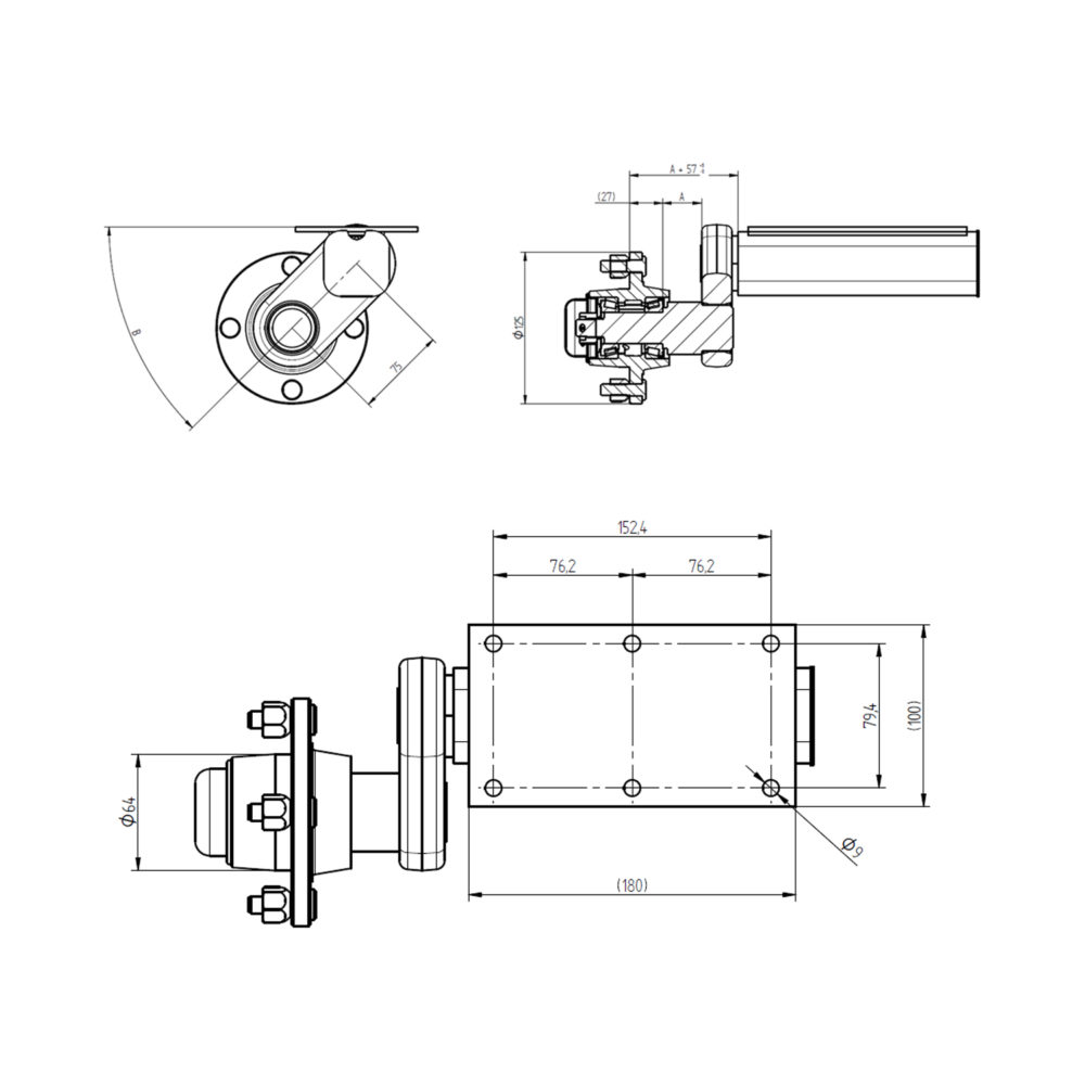 "Pair of 550kg Knott Avonride Suspension Units - 4"" PCD Drawing"