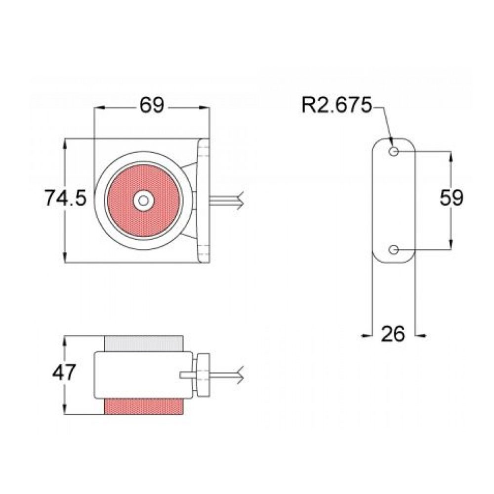 LXGE048 LED Side Marker Diagram