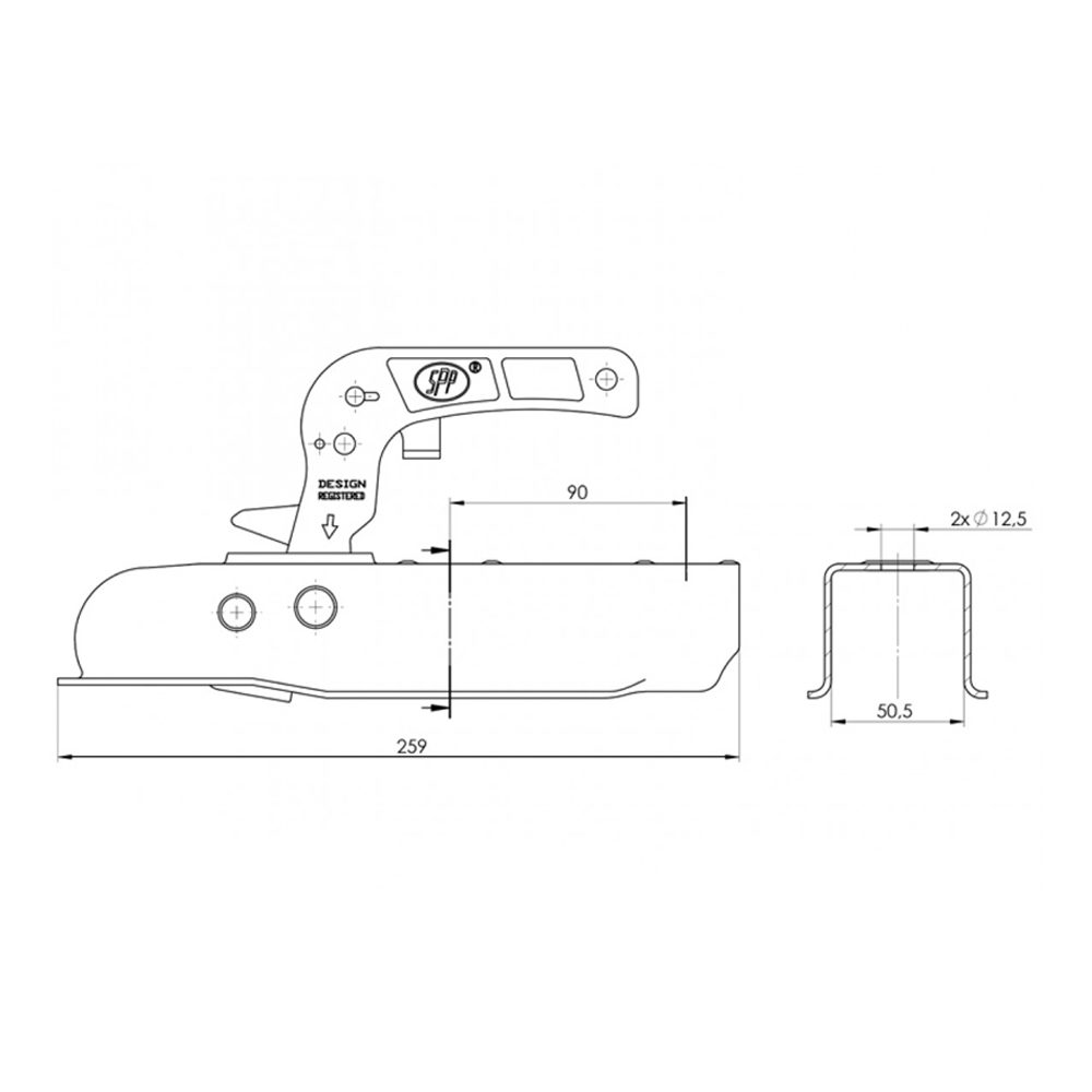 SPP Unbraked Pressed Hitch 50mm Drawing