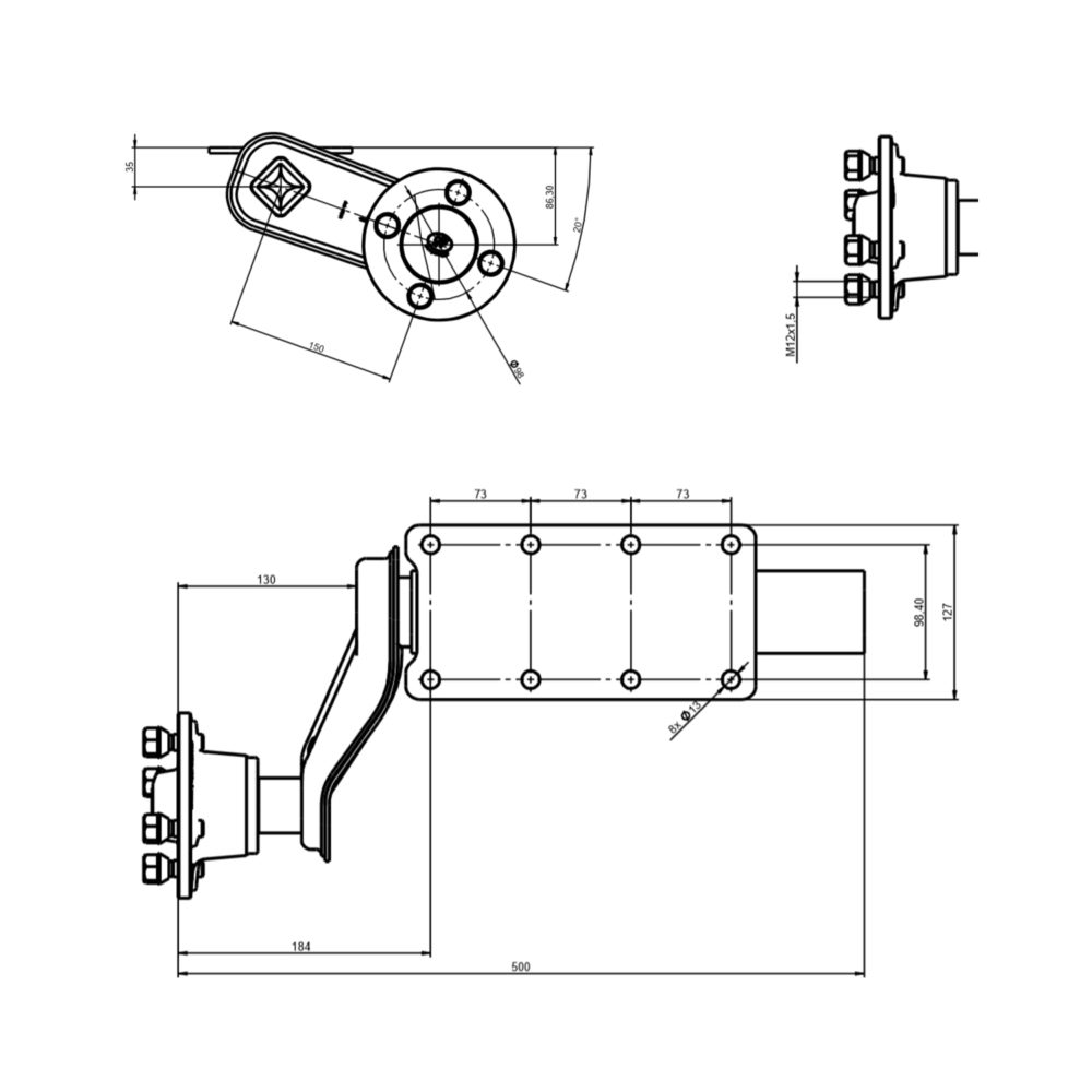 """Pair of 750kg SPP Suspension Units - 4"""" PCD Drawing"""