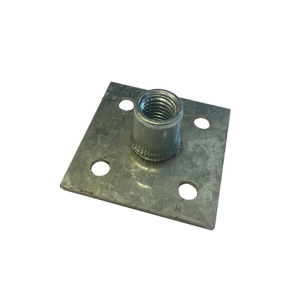 Rivet on M12 Threaded Insert. Rivet plate has 4 rivet holes at 40mm centres.