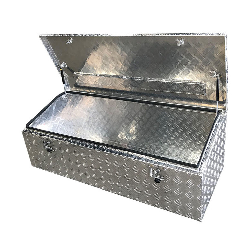 Aluminium Chequer Plate Chest Open